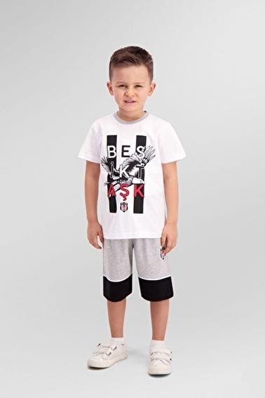 Beşiktaş Beşiktaş Lisanslı Grimelanj Erkek Çocuk Bermuda Takım Beyaz